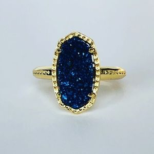 Jewelry - Blue Drusy and 18k Gold Bezel Ring